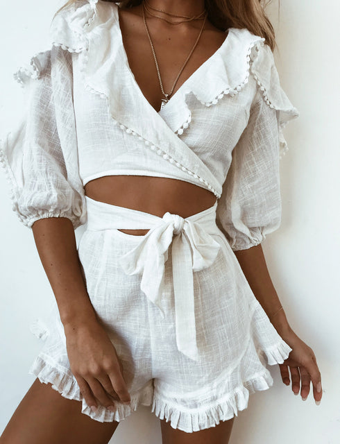 Angela Playsuit - White