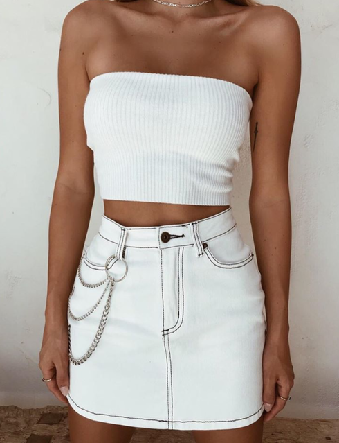 Hunter Denim Skirt - White