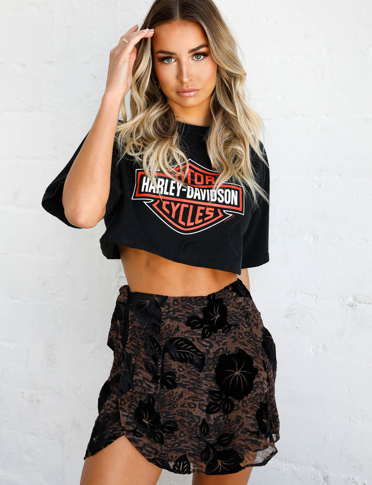Rocco Skirt  - Leopard Burnout
