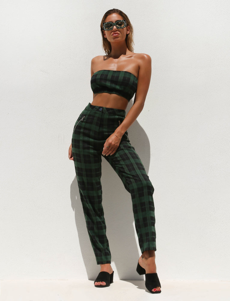Clueless Pant - Green/Black Check