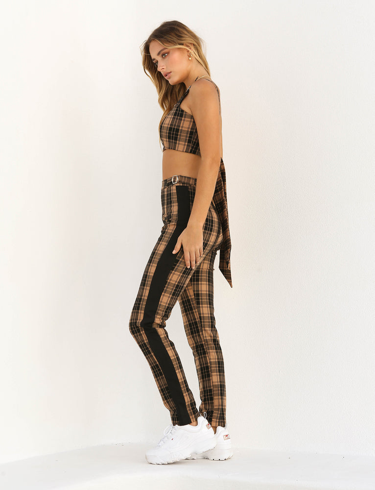 Marcelle Pant - Tan Check