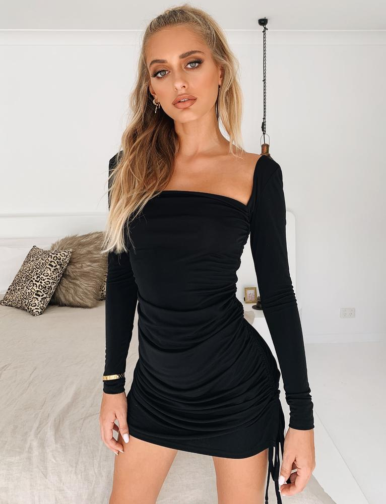 Porto Long Sleeve Dress - Black