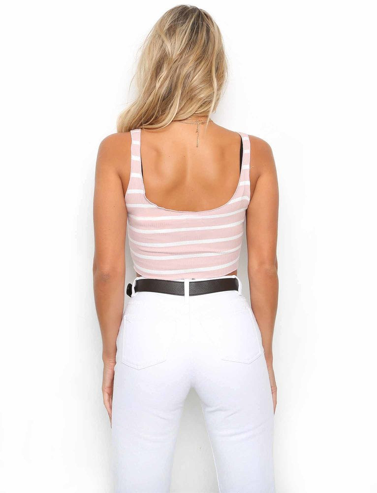 Sweet Dreams Crop - Pink Stripe