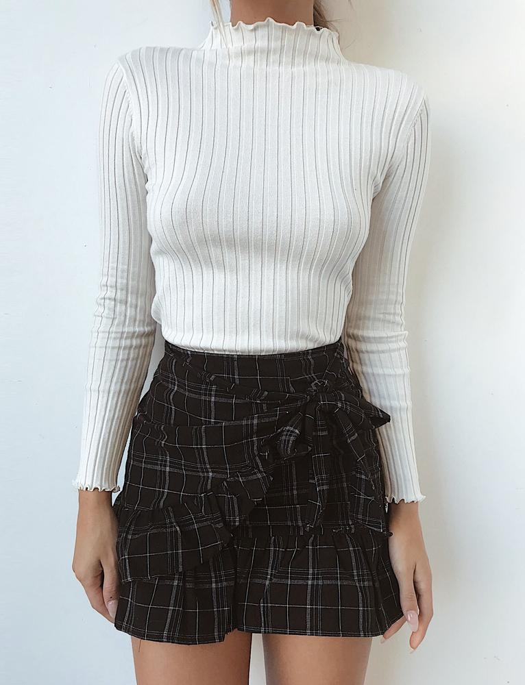 Alba Long Sleeve Top - White Rib