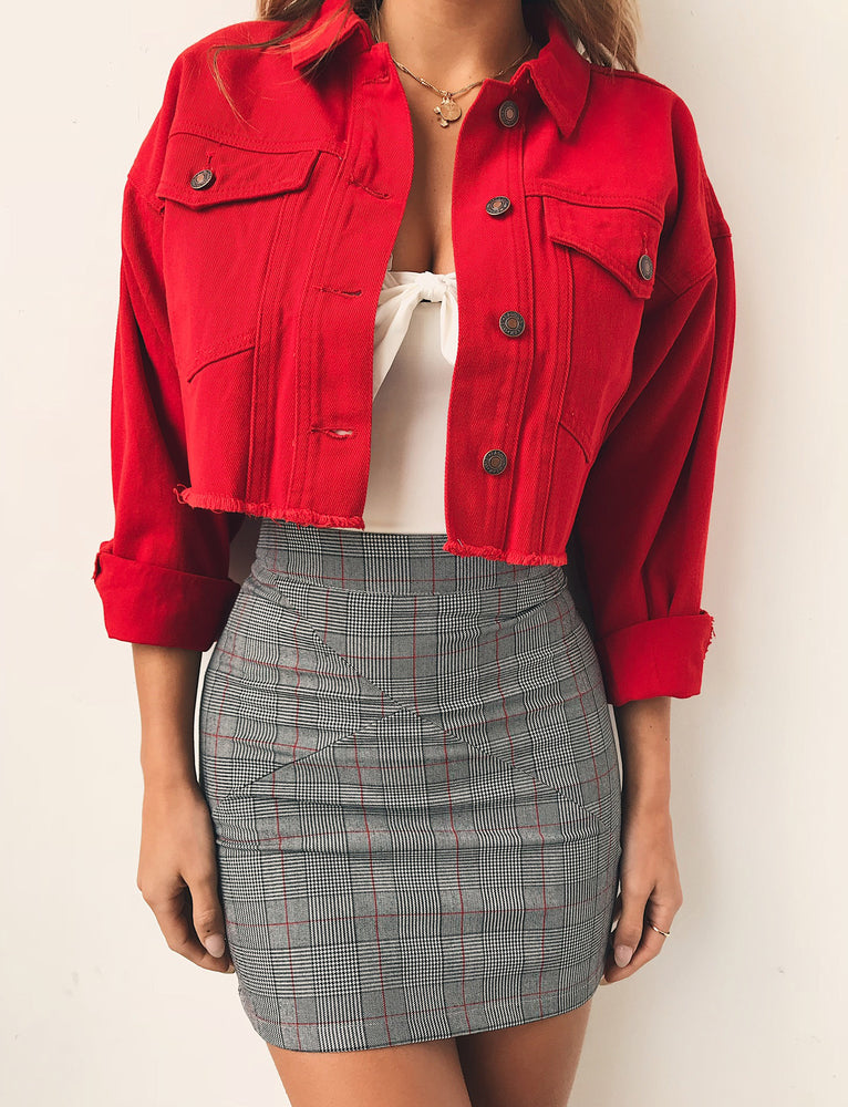 Girlfriend Denim Jacket - Red