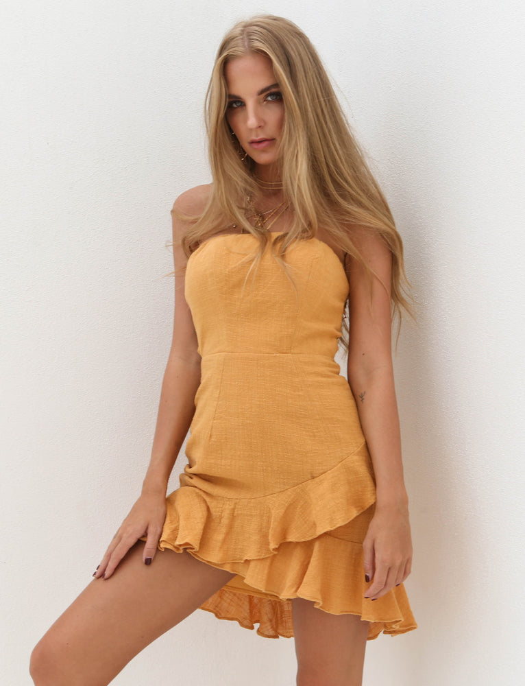 Sunday Breeze Mini Dress - Mustard