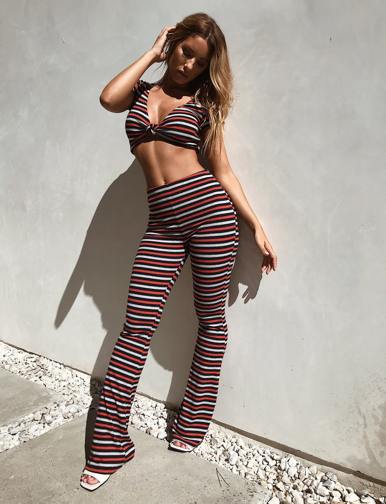 Luna Pant - Blue/Red Stripe