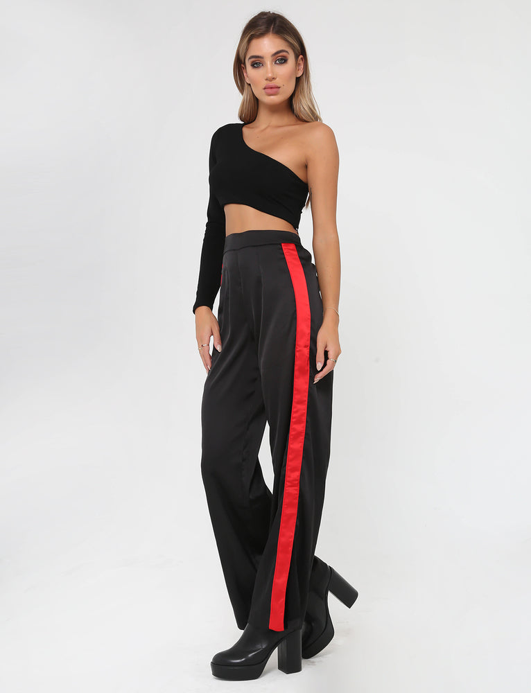 Maxwell Pant - Black/Red Stripe