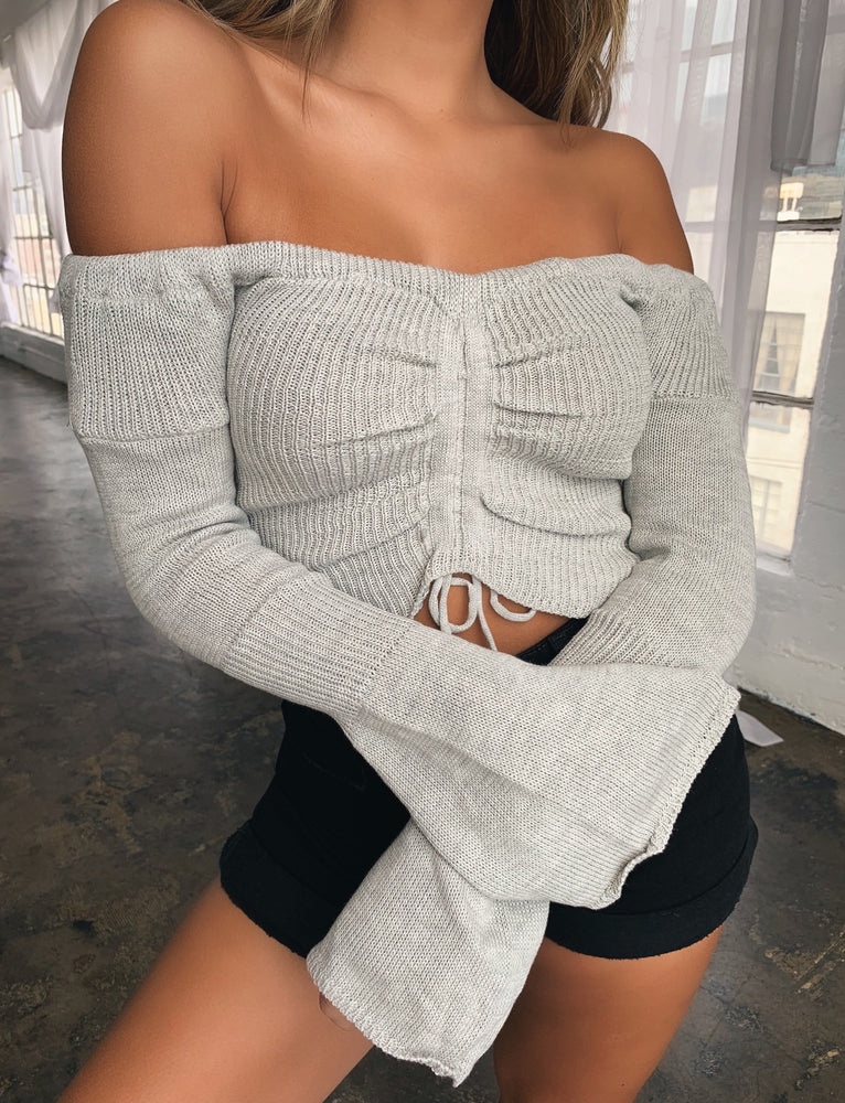 Sussex Off Shoulder Top - Grey