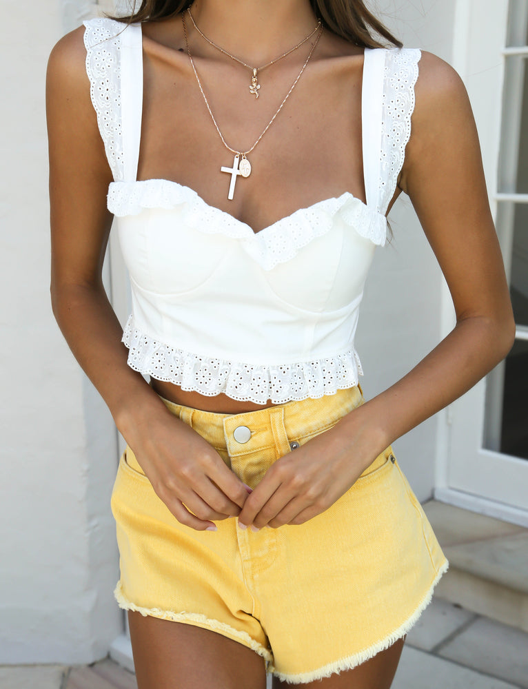 Asha Denim Shorts - Yellow