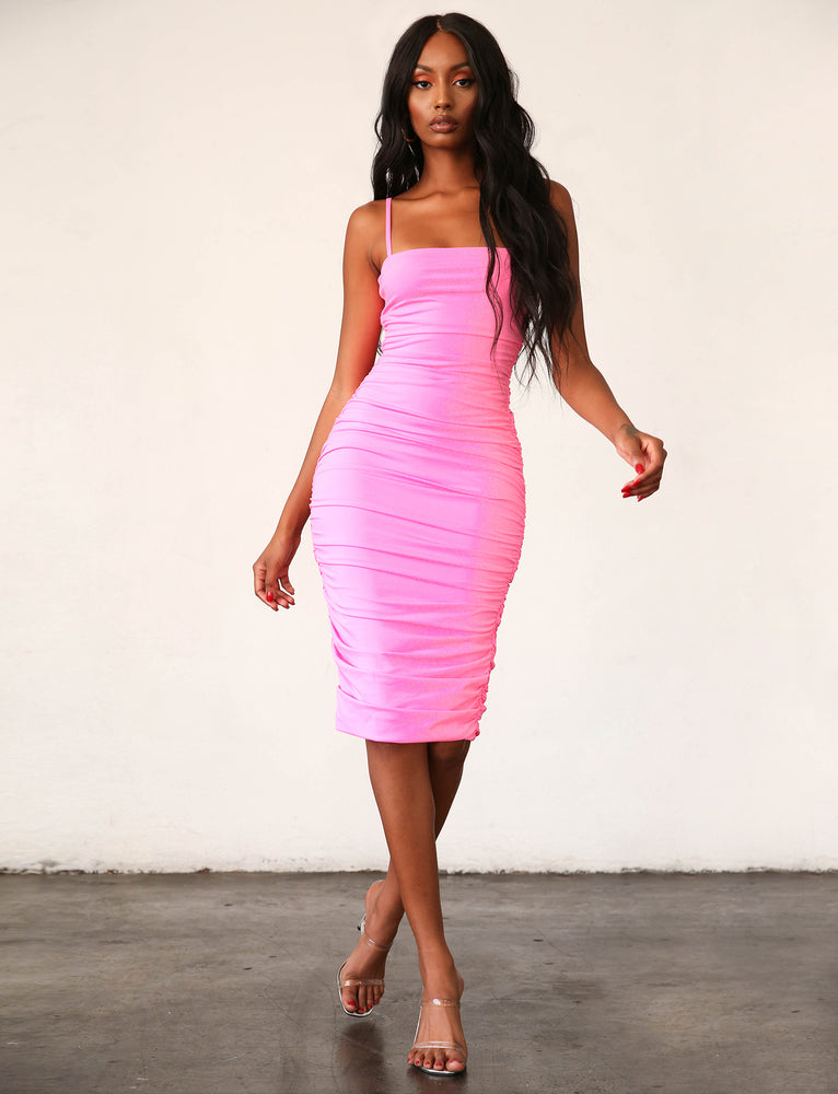 Kat Midi Dress - Barbie Pink