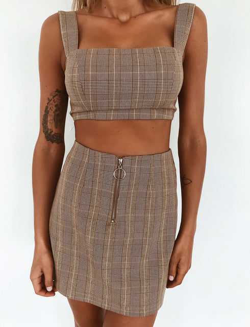 Zari Skirt - Tan Check