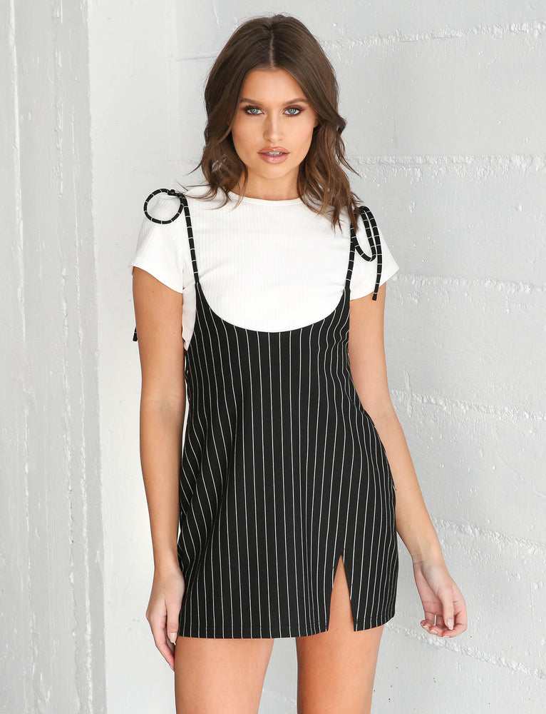 Clara Pini Dress - Black Pinstripe