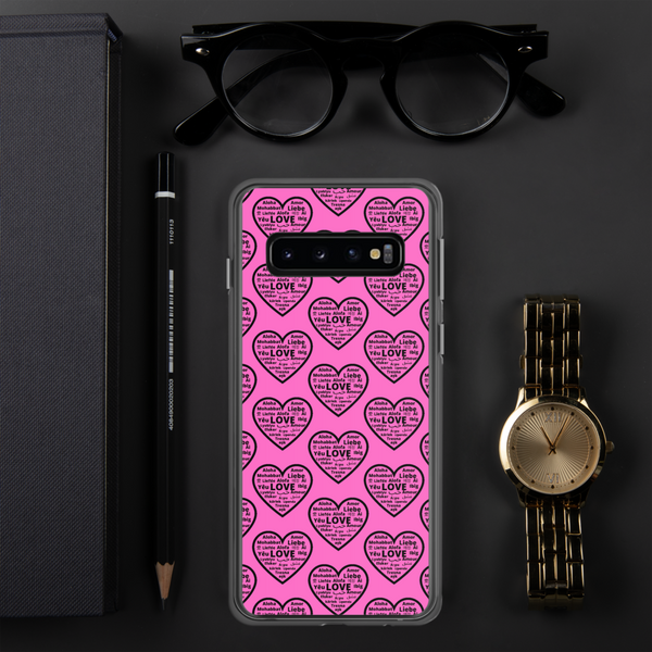 """Heart of 22 Loves"" Pink Samsung Case, Multiple Hearts Design"