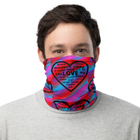 """Heart of 22 Loves"" Blue and Red Neck Gaiter/Face Mask, Multiple Hearts Design, Unisex"
