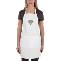 """Heart of 22 Loves"" Embroidered Apron, White"
