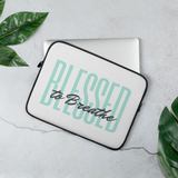 """Blessed to Breathe"" Laptop Sleeve, light green text"