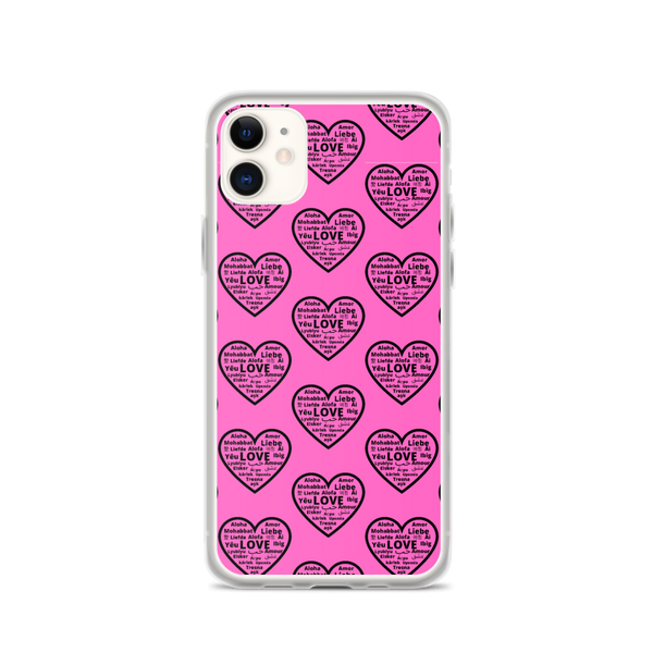 """Heart of 22 Loves"" Pink iPhone Case, Multiple Hearts Design"