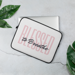 """Blessed to Breathe"" Laptop Sleeve, pink text"
