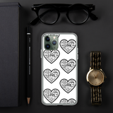 """Heart of 22 Loves"" iPhone Case, Six-Heart Design, White Background"