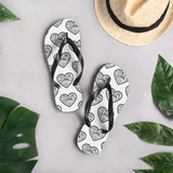 """Heart of 22 Loves"" Flip-Flops, Unisex, Multiple Hearts Design, White/Black"