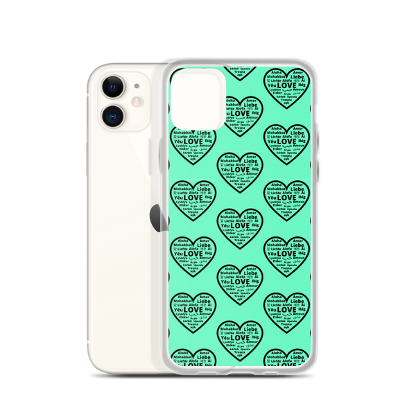 """Heart of 22 Loves"" Green iPhone Case, Multiple Hearts Design"