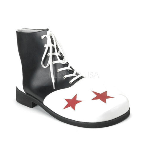 Adult Blk-Wht Pu W/Red Stars Clown Shoe CLOWN02/BW/PU