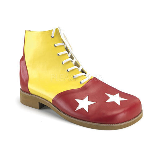 Adult Yellow-Red Pu W/Wht Stars Clown Shoe CLOWN02/YLR/PU