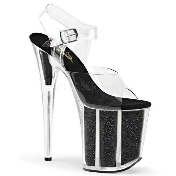 "8"" Heel, 4"" PF  Ankle Strap Sandal w/Glitter Filled Bottom FLAM808G/C/B"