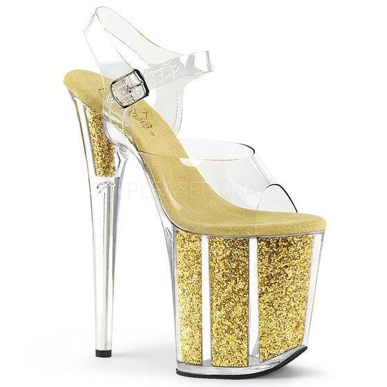 "8"" Heel, 4"" PF Ankle Strap Sandal W/Glitter Filled Bottom FLAM808G/C/G"