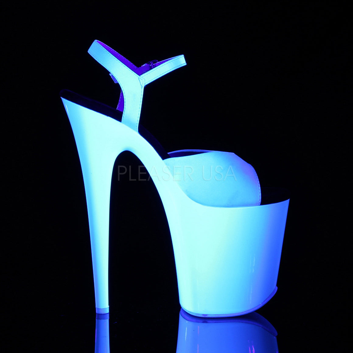 "8"" Heel, 4"" PF  Ankle Strap Sandal W/Neon UV Reactive Bottom FLAM809UV/WSA/NW"