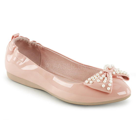 Pointed Toe Foldable Flats W/ Pearl Embellished Bow IVY09/BP
