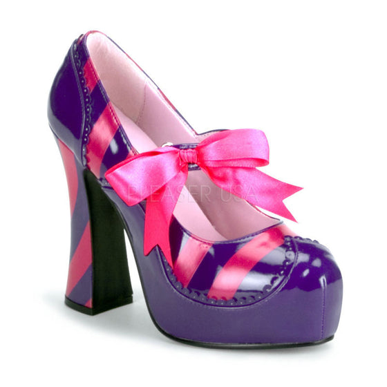 "5"" Heel, Purple and Hot Pink Striped Pat Chunky Heel Shoe KITTY32/PURHP"