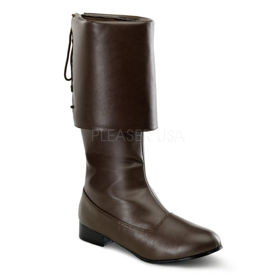 MEN BROWN PU PIRATE BOOT, with Large Cuff, PIR100/BN/PU