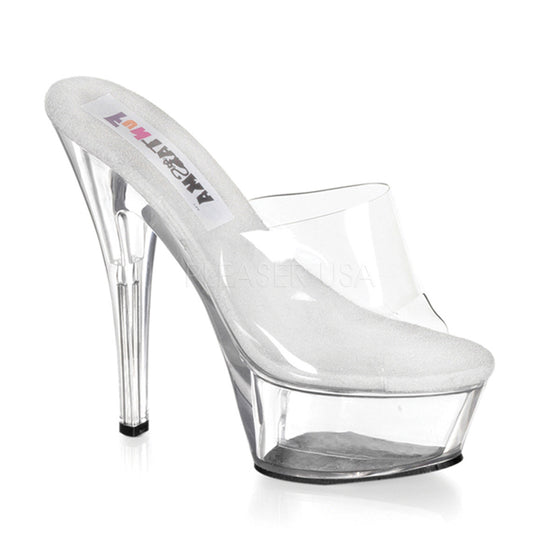 "Princess, Clear, 6"" Spike Heel Platform Sandal Slip-On PRI201/C"