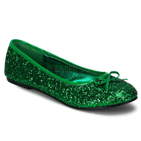 Adult Ballet Glitter Flat with Bow Accent,  Fantasy, Fairy STAR16G/GRN