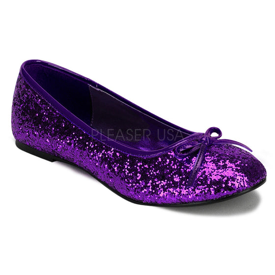 Adult Ballet Glitter Flat with Bow Accent, Fanatsy , Fairy STAR16G/PUR