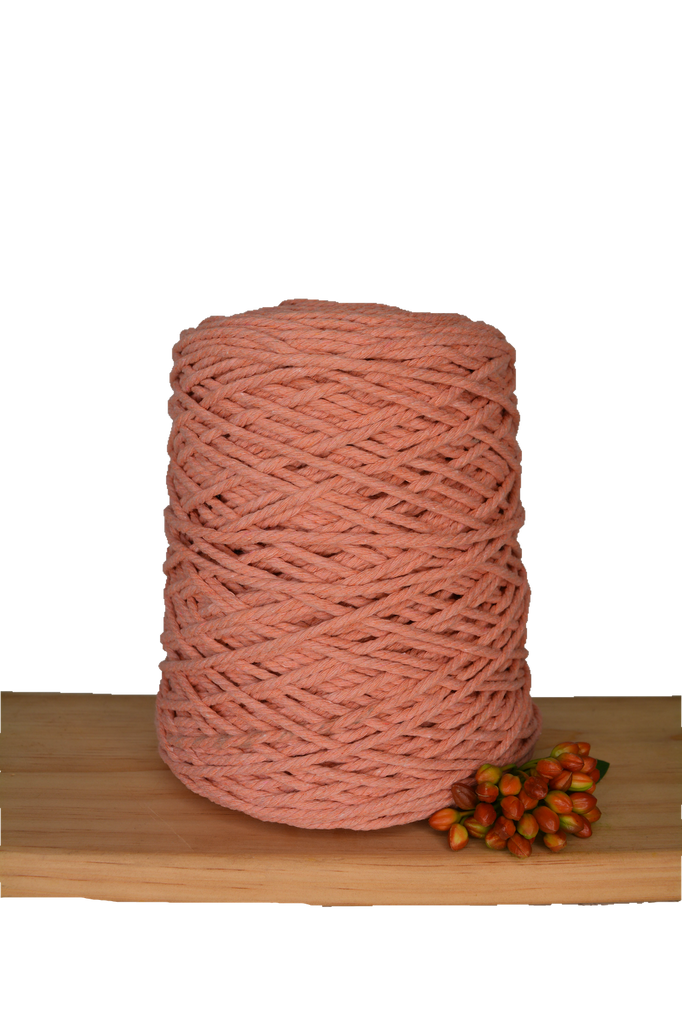 1kg Coloured 3 ply Cotton Rope - 3mm - Antique Peach