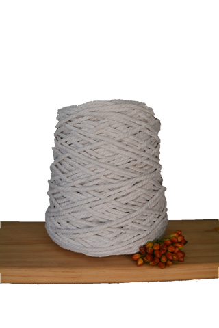1kg Coloured 3 ply Recycled Cotton Rope - 4mm - White