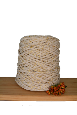 1kg Coloured 3 ply Recycled Cotton Rope - 5mm - Natural/Metallic Mix