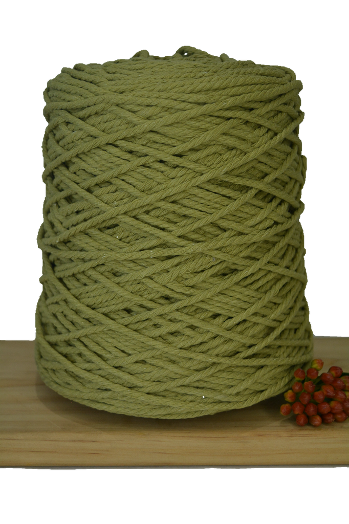 1kg Coloured 3 ply Cotton Rope - 3mm - Avocado