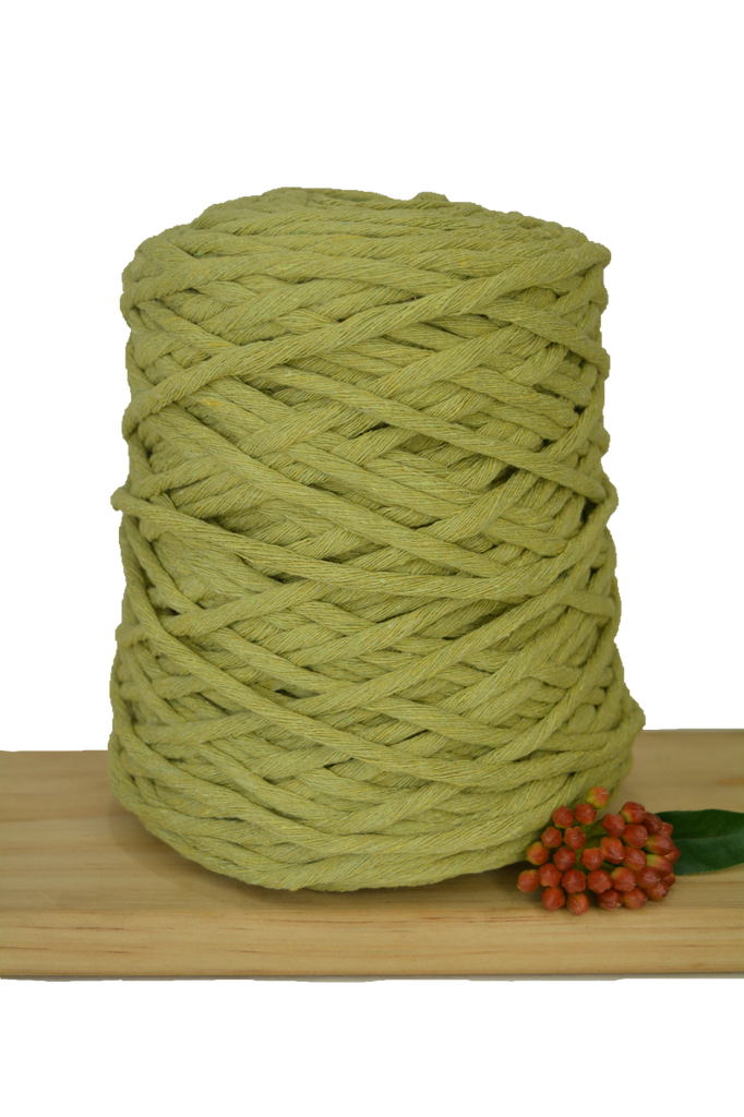 1kg Coloured 1ply Recycled Cotton String - 5mm - Avocado