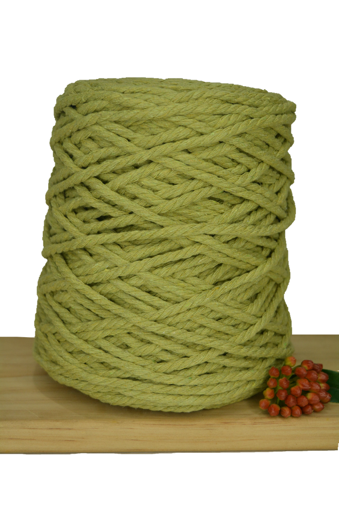 1kg Coloured 3 ply Recycled Cotton Rope - 5mm - Avocado
