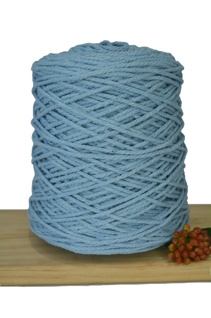 1kg Coloured 3 ply Cotton Rope - 3mm - Baby Blue