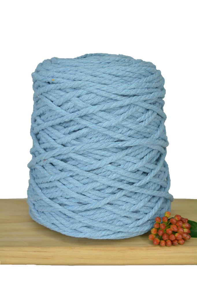 1kg Coloured 3 ply Recycled Cotton Rope - 5mm - Baby Blue