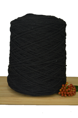 1kg Coloured 1ply Cotton Warping String - 1mm - Black