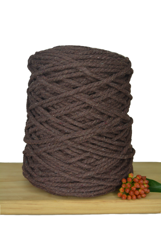 1kg Coloured 3 ply Recycled Cotton Rope - 5mm - Chocolate