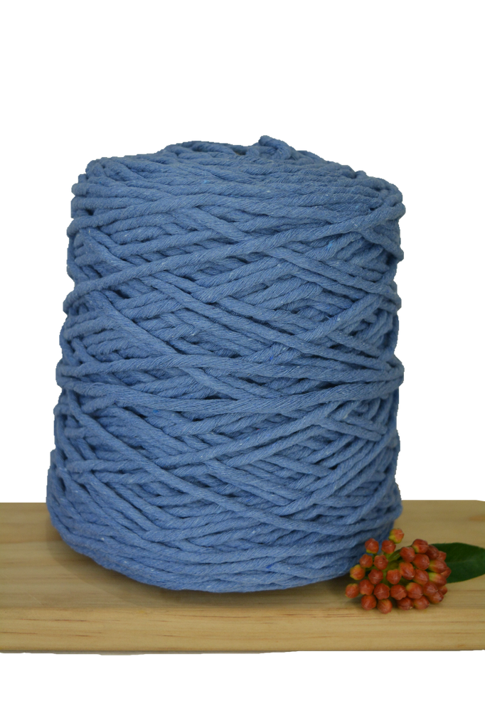 1kg Coloured 1ply Recycled Cotton String - 5mm - Cornflower Blue