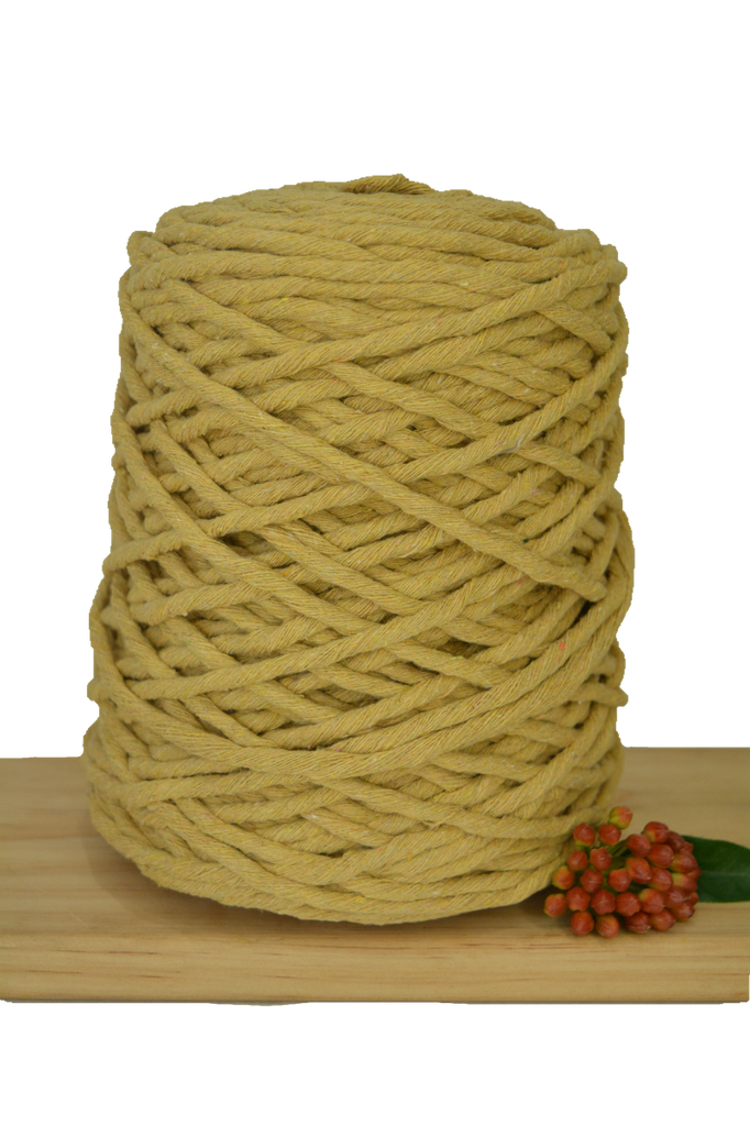 1kg Coloured 1ply Recycled Cotton String - 5mm - Dijon