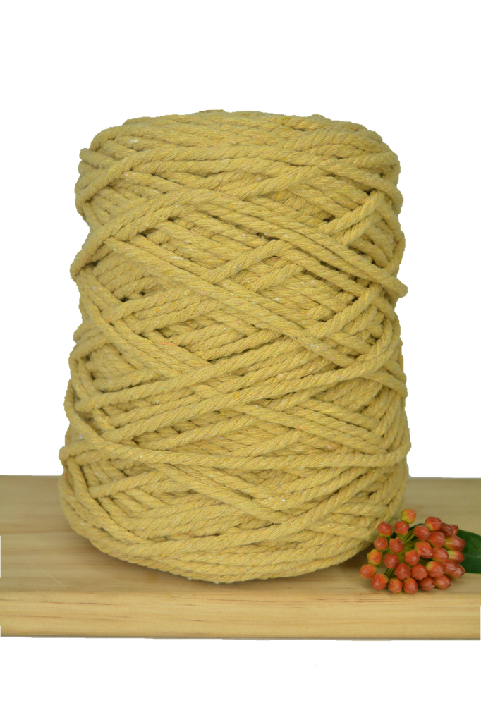 1kg Coloured 3 ply Recycled Cotton Rope - 5mm - Dijon